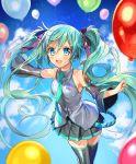 balloons birthday blush dress green_eyes green_hair happy hatsune_miku long_hair necktie twintails vocaloid