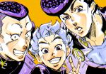3boys black_hair blue_eyes chromatic_aberration close-up gakuran grin heart higashikata_jousuke hirose_kouichi jojo_no_kimyou_na_bouken looking_at_viewer male_focus mr0308 multiple_boys nijimura_okuyasu open_mouth orange_background peace_symbol pompadour school_uniform silver_hair simple_background smile spiky_hair v yen_sign