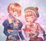 2girls :d bangs belt blonde_hair blue_bow blue_gloves blunt_bangs blush bow breloom closed_eyes gloves green_hat hat jacket long_hair looking_at_viewer moe_(hamhamham) multiple_girls open_mouth personification pokemon pom_pom_(clothes) ponytail potion red_eyes red_gloves short_hair smile standing tagme vial