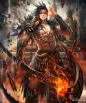 1boy armor black_hair brown_eyes embers facial_mark forehead_mark glowing glowing_eye grey_sky heterochromia holding holding_weapon kei1115 lightning looking_at_viewer muscle outdoors parted_lips red_eyes scythe shingoku_no_valhalla_gate shoulder_armor skull_necklace solo standing tattoo tooth_necklace tower watermark weapon web_address