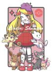 1girl :3 blonde_hair bow ditto dress eevee fang full_body glameow hair_bow meowth nail_polish one_eye_closed open_mouth original plaid plaid_dress poke_ball pokemon pokemon_(creature) red_eyes red_nails shampoohat skitty smile striped striped_background togetic
