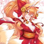 1girl ;d animal_ears bad_perspective bell bell_choker blurry blush bow breasts cherry_blossoms choker commentary_request depth_of_field eyelashes eyeliner foreshortening fox_ears fox_girl fox_tail hair_bell hair_bow hair_ornament hair_ribbon hand_on_hip head_tilt japanese_clothes jingle_bell kimono kyuubi long_hair long_sleeves looking_at_viewer makeup multiple_tails no_bra obi one_eye_closed open_mouth orange_hair original petals pointing ponytail red_bow red_kimono red_ribbon ribbon sash sidelocks small_breasts smile solo star suzuneko_(yume_no_kyoukai) tail tress_ribbon twitter_username upper_body wide_sleeves