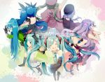 6+girls ahoge aqua_eyes aqua_hair arm_up bare_shoulders beret black_dress black_gloves black_legwear blood blood_from_mouth blue_hair bow chibi circle_formation closed_eyes covering_ears detached_sleeves dress ghost_rule_(vocaloid) gloves green_jacket hachune_miku hair_bow hair_ribbon hand_on_hip hat hatsune_miku highres jacket japanese_clothes low_twintails matryoshka_(vocaloid) multiple_girls multiple_persona necktie open_mouth paint_splatter ren'ai_saiban_(vocaloid) ribbon senbon-zakura_(vocaloid) shinkai_shoujo_(vocaloid) smile songover spring_onion standing tell_your_world_(vocaloid) thigh-highs twintails uiyuzu_(uichoco) vocaloid white_dress wide_sleeves world_is_mine_(vocaloid) wrist_cuffs zettai_ryouiki