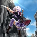 1girl ak-47 animal_hood ass assault_rifle blue_sky boots bunny_hood cliff climbing commentary_request day dress from_behind gun hair_between_eyes hair_ornament highres hood hood_down hoodie light_rays looking_at_viewer looking_back low_twintails morgan_(adfx01f) outdoors outstretched_arms panties pantyshot purple_dress purple_hair purple_legwear purple_panties rifle short_hair_with_long_locks sky sleeves_rolled_up solo striped striped_legwear sunbeam sunlight thigh-highs twintails underwear violet_eyes vocaloid voiceroid weapon yuzuki_yukari