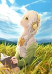 1girl antweiyi blue_sky book braid clouds day field green_eyes hair_ornament headphones highres holding holding_book long_hair looking_up open_book outdoors school_uniform sitting sky