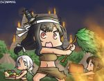 3girls alternate_costume black_hair blue_eyes boned_meat braid brown_eyes brown_hair carrying commentary dated food fruit hair_ornament hamu_koutarou headband i-401_(kantai_collection) kantai_collection long_hair low-tied_long_hair meat midriff multiple_girls navel open_mouth ponytail pyramid red_eyes sarong silver_hair single_braid squash sweatdrop tribal umikaze_(kantai_collection) yamashiro_(kantai_collection)
