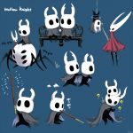 6+others ? arizuka_(catacombe) bench bug commentary_request copyright_name eating food highres holding_pocky hollow_knight hollow_knight_(character) hornet_(hollow_knight) looking_at_another multiple_others multiple_views pocky sitting spider sword translation_request weapon white_helmet