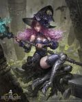 1girl 2015 bird black_hat black_legwear black_shoes blue_eyes bracer column copyright_name flower greaves hat hat_flower hat_ornament high_heels holding holding_staff livia_prima long_hair looking_at_viewer mobius_final_fantasy official_art pillar purple_hair shoes solo staff thigh-highs watermark wavy_hair witch_hat