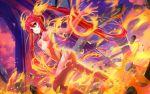 1girl ahoge blush cthugha_(nyaruko-san) fire haiyore!_nyaruko-san long_hair looking_at_viewer red_eyes redhead solo twintails