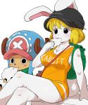 1boy 1girl animal_ears antlers backpack bag blonde_hair blush breasts bunny_tail carrot_(one_piece) cleavage clothes_writing cotton_candy dagashi_(daga2626) eating eyelashes furry hat highres one_piece rabbit_ears tail tony_tony_chopper