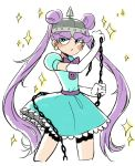 1girl angry blue_dress blue_eyes chain double_bun dress earrings facial_mark guuuunya_(kay072527) helmet jewelry long_hair mina_loveberry puffy_short_sleeves puffy_sleeves purple_hair short_sleeves solo sparkle spiked_helmet star_vs_the_forces_of_evil twintails very_long_hair