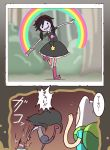 1boy 1girl adventure_time backpack bag black_dress black_hair book boots dress fake_horns finn_the_human hairband jewelry long_hair marceline_abadeer necklace nollety photo_(object) photo_album rainbow smile stake star star_butterfly_(cosplay) star_vs_the_forces_of_evil translation_request twintails