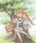1girl anshu_(o9jucea) aqua_shoes binoculars brown_hair copyright_name gloves highres long_hair outdoors pouch ribbed_sweater shoes sign sitting smile solo sweater thigh-highs tree tree_of_savior tree_stump twintails white_gloves white_legwear