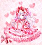 1girl :| ankle_ribbon blue_eyes blue_hair blush bow box commentary_request dress expressionless frills gift gift_box gift_box_hair_ornament hair_bow hair_ribbon heart heart_background heart_print heterochromia himemurasaki holding holding_gift lolita_fashion long_hair looking_at_viewer multicolored_hair original pink pink_eyes pink_hair pocketland polka_dot polka_dot_dress ribbon sitting solo sweet_lolita two_side_up