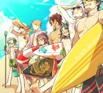 6+boys beach black_gloves black_hair blue_hair brown_hair diving_mask english fang fudou_yukimitsu gloves goggles hat heshikiri_hasebe innertube male_focus male_swimwear mame_(ballet2604) multiple_boys ookurikara open_mouth pink_hair polearm purple_hair sarong shokudaikiri_mitsutada smile souza_samonji sun_hat sunglasses surfboard swim_trunks swimwear taikogane_sadamune touken_ranbu trident tsurumaru_kuninaga violet_eyes weapon white_hair yagen_toushirou yellow_eyes