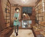 2boys apron bespectacled black_hair blue_eyes book bookshelf bookstore glasses hebino_rai horikawa_kunihiro izumi-no-kami_kanesada male_focus mikazuki_munechika multiple_boys shop smile touken_ranbu translation_request walking