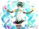 1girl :d anniversary aqua_hair artist_name character_name commentary_request daigoman detached_sleeves hatsune_miku necktie open_mouth outstretched_arms playstation_vr skirt smile solo spread_arms thigh-highs twintails virtual_reality vocaloid