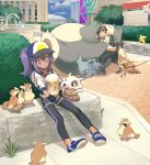 1boy 1girl backpack bag baseball_cap black_gloves black_legwear blue_eyes brown_hair choker city cubone egg female_protagonist_(pokemon_go) fingerless_gloves gloves hat highres hood hoodie leggings linaria_(ookinahitomi) long_hair male_protagonist_(pokemon_go) nidorina outdoors pidgey pikachu pokemon pokemon_(creature) pokemon_go pokestop ponytail psyduck purple_hair pushing shoes shorts sitting sneakers snorlax visor_cap