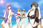 4girls beach bikini black_bikini black_eyes black_hair blonde_hair breasts brown_hair cleavage closed_eyes collarbone crane_yuzuriha food green_eyes grin hand_in_hair highres holding ice_cream large_breasts long_hair marishiten multiple_girls navel ocean outdoors pandora_(saint_seiya) ponytail purple_bikini purple_hair red_bikini saint_seiya:_the_lost_canvas sasha_(saint_seiya:_the_lost_canvas) side-tie_bikini sideboob smile strapless strapless_bikini sun swimsuit tongue tongue_out under_boob white_bikini