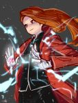 1girl alphonse_elric alphonse_elric_(cosplay) black_background black_shirt brown_hair coat conqueror_of_shambala electricity fullmetal_alchemist gloves hair_blowing idolmaster kugimiya_rie long_hair looking_down magic minase_iori red_coat red_eyes seiyuu_connection shirt signature simple_background solo white_gloves yoshiwa_tomo