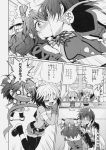 >_< 1boy 3girls accidental_kiss angry asbel_lhant bow brooch cheria_barnes chibi closed_eyes doujinshi excited gloves greyscale hair_bow hands_clasped highres jewelry jumping kiss kurimomo long_hair monochrome multicolored_hair multiple_girls o_o pascal scarf short_hair skirt sophie_(tales) surprised sweatdrop tales_of_(series) tales_of_graces thigh-highs translated twintails two-tone_hair