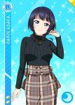 asaka_karin blue_eyes blue_hair blush character_name dress love_live!_nijigasaki_high_school_idol_club short_hair smile