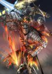 5boys absurdres armor ashen_one_(dark_souls_3) beard chosen_undead crown dark_souls dark_souls_ii dark_souls_iii elrem facial_hair fire full_armor gwyn_lord_of_cinder helmet highres knight long_hair magic multiple_boys scimitar shield soul_of_cinder souls_(from_software) sword tabard thunder undead_hero_(dark_souls_2) wand weapon