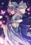 1girl blue_hat blue_kimono blue_ribbon butterfly cowboy_shot eyebrows eyebrows_visible_through_hair fan folding_fan frilled_kimono frills from_side hat japanese_clothes kimono lens_flare looking_at_viewer mob_cap nakaichi_(ridil) obi petals pink_eyes pink_hair ribbon saigyouji_yuyuko sash solo touhou triangular_headpiece veil wide_sleeves