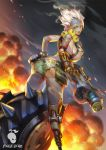 1girl ass backlighting blonde_hair breasts cowboy_shot crazy embers explosive eyebrows eyeliner finger_on_trigger fingerless_gloves from_behind genderswap genderswap_(mtf) gloves green_shorts grenade grenade_launcher hand_on_hip harness highres holding holding_weapon junkrat_(overwatch) large_breasts leaning_forward looking_at_viewer looking_back looking_to_the_side makeup mechanical_arm orange_eyes overwatch patch piercing pouch prosthesis scar short_hair short_shorts shorts sideboob smoke solo spikes spiky_hair standing tattoo tire tongue tongue_out tongue_piercing topless watermark weapon xiao_duzi