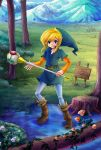 10ca1 1boy belt blonde_hair boots brown_boots bush flower full_body grass green_hat hat link log looking_at_viewer mountain outdoors pointy_ears rod_of_seasons scenery sign solo standing the_legend_of_zelda the_legend_of_zelda:_oracle_of_seasons tree tree_stump tunic water