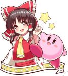 1girl ascot bare_shoulders blue_eyes blush blush_stickers bow brown_eyes brown_hair crossover detached_sleeves hair_bow hair_ornament hakurei_reimu igakusei kirby kirby_(series) lowres open_mouth star touhou white_background