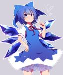 >:) 1girl blue_bow blue_dress blue_eyes blue_hair blush bow cirno closed_mouth commentary_request cowboy_shot dress hair_bow hand_on_hip heart ice ice_wings looking_at_viewer neck_ribbon puffy_short_sleeves puffy_sleeves red_ribbon ribbon short_hair short_sleeves solo touhou wings you_(noanoamoemoe)