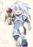 1boy artist_name blue_eyes blush boots child dated genius_sage grey_hair kendama long_hair open_mouth solo tales_of_(series) tales_of_symphonia tanaki_yui