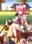 1girl :3 absurdres ahoge amputee anus arm_garter ball bandaged_arm bandages blush bun_cover cat chinese_clothes commentary crossover cuffs double_bun fence flower full_body garden green_skirt hair_bun high_heels highres house ibaraki_kasen in_tree jar koissa neko_atsume pink_eyes pink_hair pink_rose plant potted_plant puffy_short_sleeves puffy_sleeves red_shoes rose shackles shirt shoes short_hair short_sleeves sitting sitting_in_tree skirt sweat tabard touhou tree tree_stump white_shirt