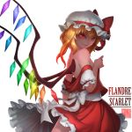 >:) 1girl arm_at_side back bangs bare_shoulders bow breasts character_name colored_eyelashes cowboy_shot crystal flandre_scarlet frilled_skirt frills gradient gradient_hair hat hat_ribbon highres looking_at_viewer mob_cap multicolored_hair no_bra off_shoulder orange_hair puffy_short_sleeves puffy_sleeves red_eyes red_ribbon red_skirt red_vest ribbon sash shaded_face short_sleeves simple_background skirt skirt_set small_breasts smile smirk solo touhou vampire vest white_background white_bow white_hat wings zhaoyebai