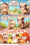 1girl 2boys anger_vein animal_ears armor black_hair blonde_hair clouds crossover emerald english female_my_unit_(fire_emblem_if) fire_emblem fire_emblem_if flannel_(fire_emblem_if) gem gloves green hairband kataro knuckles_the_echidna long_hair multicolored_hair multiple_boys my_unit_(fire_emblem_if) open_mouth pointy_ears punching red_eyes scar sonic_the_hedgehog speech_bubble tail tree two-tone_hair white_hair wolf_ears wolf_tail