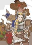 1girl 3boys blizzard_(company) blonde_hair braid company_connection grin highres long_hair looking_at_viewer mercy_(overwatch) multiple_boys one_eye_closed overwatch smile splashbrush the_lost_vikings viking
