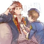 ... 2boys alternate_costume boater_hat brown_hair fingerless_gloves gloves gran_(granblue_fantasy) granblue_fantasy hand_in_hair kimi_to_boku_no_mirai looking_at_another male_focus multiple_boys natsuno_(natsuno_a1) percival_(granblue_fantasy) redhead sitting spoken_ellipsis translation_request unbuttoning white_gloves