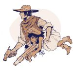 1boy 1girl bandana boots carrying carrying_under_arm child cowboy_boots cowboy_hat dark_skin gun hat mccree_(overwatch) monochrome nerf_gun overwatch papabay peaked_cap pharah_(overwatch) sepia smile teenage toy_gun weapon younger