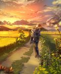 1boy 1girl aiha-deko baby brown_hair carrying clouds cloudy_sky commentary_request dragonfly evening field flower insect japanese_clothes kimono looking_to_the_side mountain original outdoors power_lines road short_hair sky storm_cloud sunflower sunset walking zouri