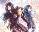 2boys armor black_hair blue_hair brothers clenched_hand feathers gemini_kanon gemini_saga grey_eyes highres long_hair looking_at_viewer male_focus multiple_boys odawara_ai saint_seiya siblings spaulders twins