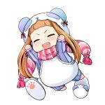 1girl animal_costume arms_up bangs blunt_bangs blush brown_hair chibi closed_eyes cosplay ichihara_nina idolmaster idolmaster_cinderella_girls kigurumi long_hair onion_(lemlaml) open_mouth panda_costume scarf shoes_removed smile solo striped striped_scarf