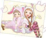 1boy 1girl animal_costume animal_hood blush bow brown_eyes brown_hair bunny_costume bunny_hood cosplay costume_switch green_eyes himeno_kanon himeno_kanon_(cosplay) hood ichihara_nina ichihara_nina_(cosplay) idolmaster idolmaster_cinderella_girls idolmaster_side-m kigurumi long_hair mittens open_mouth purple_legwear rice_(rice8p) short_hair smile striped striped_legwear