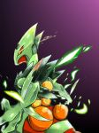 looking_to_the_side mega_pokemon mega_sceptile no_humans pokemon pokemon_(creature) pokemon_(game) pokemon_oras red_sclera sceptile simple_background solo yellow_eyes