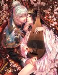 1boy 1girl biwa_lute black_hair blonde_hair blue_eyes brown_hair facial_mark floral_print flower forehead_mark hair_bun hair_ornament hair_tie hakuryou_(mitsuya_no_kan'in) highres indoors instrument japanese_clothes long_hair lute_(instrument) mitsuya_no_kan'in_-yuukaku_no_hanayome- official_art plum_blossoms red_eyes rikou_(mitsuya_no_kan'in) shijuu_hachi side_glance tiara