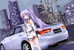 1girl absurdres ahoge bibendum brown_eyes building car commentary_request detached_sleeves ferris_wheel ground_vehicle highres isla_(plastic_memories) long_hair looking_at_viewer michelin motor_vehicle name_tag plastic_memories purple_hair skyscraper solo tianyu_jifeng tire toyota toyota_reiz twintails