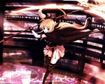 1girl arm_strap bad_id belt black_boots black_cape black_gloves black_legwear black_ribbon black_shirt blonde_hair blurry boots cape depth_of_field dyolf energy_weapon fate_testarossa floating_hair gloves hair_ribbon highres holding holding_weapon incoming_attack knee_boots long_hair looking_at_viewer lyrical_nanoha magic_circle mahou_shoujo_lyrical_nanoha open_mouth over-kneehighs ribbon scythe shirt skirt sleeveless sleeveless_shirt solo thigh-highs twintails weapon white_skirt yellow_eyes