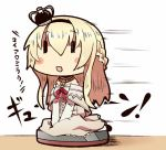 1girl 221_(tsutsuichi) :d bare_shoulders between_legs blonde_hair blush_stickers braid chibi commentary crown dress french_braid hair_between_eyes hairband hand_between_legs jewelry kantai_collection long_hair long_sleeves mini_crown necklace off_shoulder open_mouth red_ribbon ribbon riding roomba sitting smile solo translated v_arms vacuum_cleaner wariza warspite_(kantai_collection) white_legwear ||_||