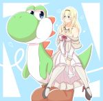 1girl bare_shoulders blonde_hair blue_eyes breasts cleavage commentary_request crossover detached_sleeves dress hairband high_heels highres jewelry kantai_collection kenahisu_(kenahisu62) long_hair mario_(series) necklace no_headwear off-shoulder_dress off_shoulder pantyhose sidesaddle smile super_mario_bros. super_mario_world warspite_(kantai_collection) white_dress white_legwear yoshi