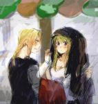 1boy 1girl annoyed automail bangs black_shirt blonde_hair blue_eyes blurry blurry_background blush borrowed_garments braid coat coat_over_head coat_removed commentary edward_elric eyebrows_visible_through_hair frown fullmetal_alchemist jacket jacket_removed long_hair looking_at_another open_mouth rain shirt sleeveless sweatdrop tsukuda0310 white_shirt winry_rockbell yellow_eyes